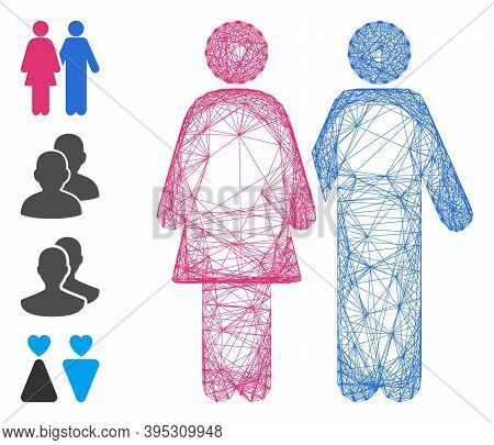 Vector Wire Frame Adult Pair. Geometric Wire Frame 2d Net Made From Adult Pair Icon, Designed With C
