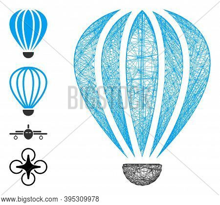 Vector Wire Frame Aerostat. Geometric Wire Frame 2d Net Generated With Aerostat Icon, Designed With