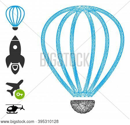 Vector Wire Frame Aerostat. Geometric Wire Frame Flat Network Generated With Aerostat Icon, Designed