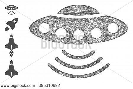 Vector Wire Frame Alien Invasion. Geometric Wire Frame Flat Net Based On Alien Invasion Icon, Design