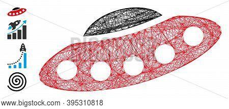 Vector Wire Frame Alien Visitors Spaceship. Geometric Wire Frame 2d Net Made From Alien Visitors Spa