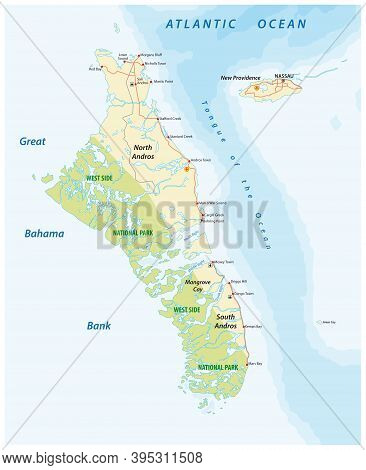 Vector Map Of Andros Island And New Providence, Bahamas