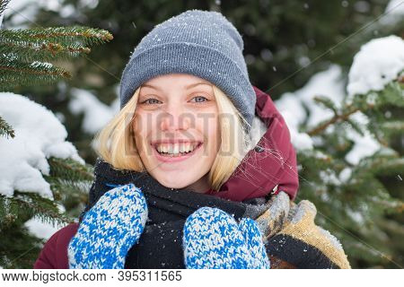 Sincere Emotions. Christmas And New Year. Model Tender Girl Warm Hat Scarf. Winter Fashion Concept.