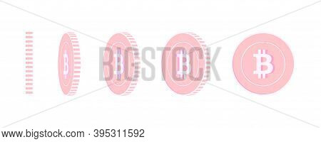 Bitcoin, Internet Currency Rotating Coins Set, Animation Ready. Pink Btc Copper Coins Rotation. Cryp