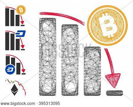 Vector Wire Frame Bitcoin Epic Fail Chart. Geometric Wire Frame 2d Net Based On Bitcoin Epic Fail Ch