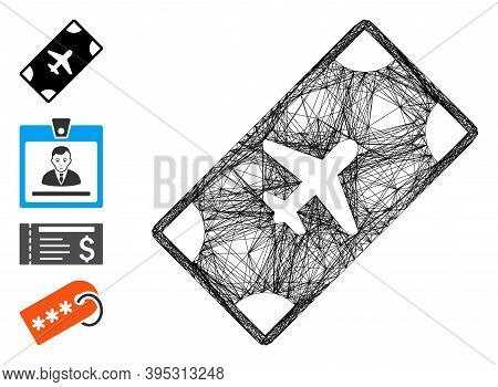 Vector Network Boarding Pass. Geometric Wire Carcass Flat Net Generated With Boarding Pass Icon, Des