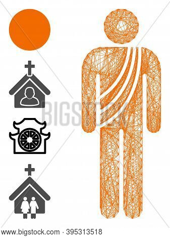Vector Net Buddhist Monk. Geometric Wire Frame Flat Net Made From Buddhist Monk Icon, Designed From