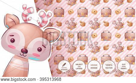 Deer With Diplomat Seamless Pattern. Vector Eps 10