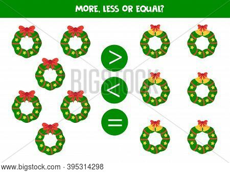 Count All Christmas Wreaths And Compare Numbers.