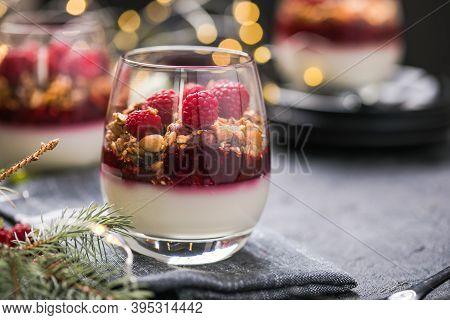 Raspberry Panna Cotta Or Parfait With Raspberry Jelly, Italian Dessert, Homemade Cuisine. Copy Space