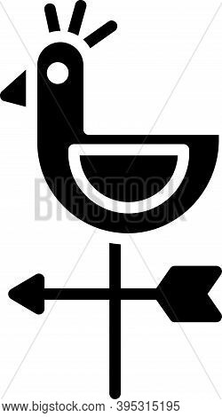 Black Rooster Weather Vane Icon Isolated On White Background. Weathercock Sign. Windvane Rooster. Ve