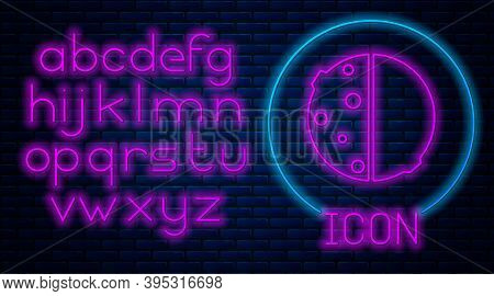 Glowing Neon Eclipse Of The Sun Icon Isolated On Brick Wall Background. Total Sonar Eclipse. Neon Li