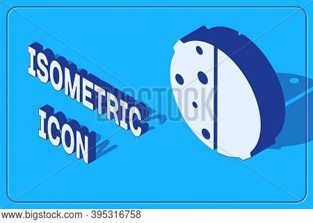 Isometric Eclipse Of The Sun Icon Isolated On Blue Background. Total Sonar Eclipse. Vector Illustrat