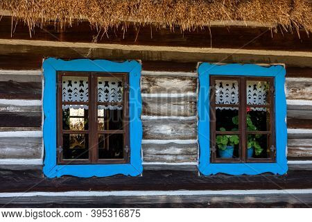 Wooden Window In Rustic Old Peasant House