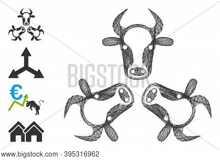 Vector Network Cow Trinity. Geometric Linear Frame Flat Network Generated With Cow Trinity Icon, Des