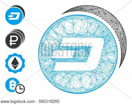 Vector Network Dash Coins. Geometric Linear Carcass 2d Network Generated With Dash Coins Icon, Desig