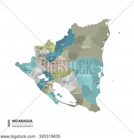 Nicaragua Higt Detailed Map With Subdivisions. Administrative Map Of Nicaragua With Districts And Ci