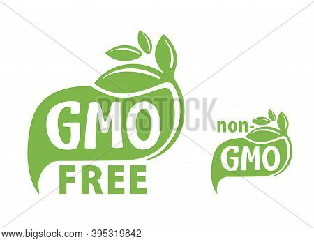 Gmo Free And Non-gmo Green Flat Eco-friendly Sticker - Isolated Vector Marking For Healthy Organic F