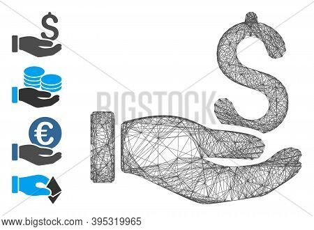 Vector Net Earnings Hand. Geometric Linear Carcass 2d Net Generated With Earnings Hand Icon, Designe