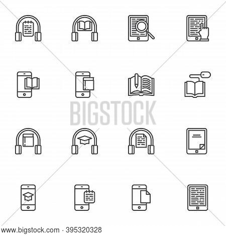 E-learning Line Icons Set, Outline Vector Symbol Collection, Online Education Linear Style Pictogram