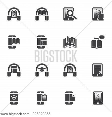 E-learning Vector Icons Set, Modern Solid Symbol Collection, Online Education Filled Style Pictogram