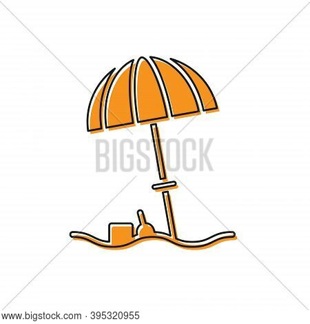 Orange Sun Protective Umbrella For Beach Icon Isolated On White Background. Large Parasol For Outdoo
