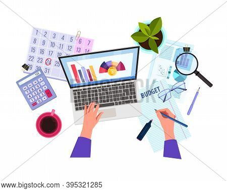 Personal Budget Planning, Tax Report Or Risk Analysis Vector Illustration With Hands, Laptop, Graphs