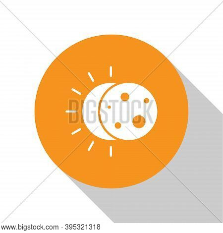 White Eclipse Of The Sun Icon Isolated On White Background. Total Sonar Eclipse. Orange Circle Butto