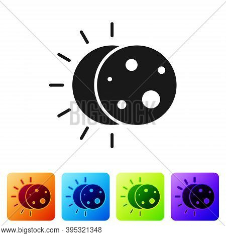 Black Eclipse Of The Sun Icon Isolated On White Background. Total Sonar Eclipse. Set Icons In Color