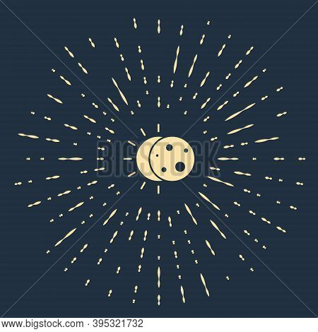 Beige Eclipse Of The Sun Icon Isolated On Blue Background. Total Sonar Eclipse. Abstract Circle Rand