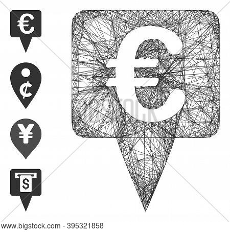 Vector Wire Frame Euro Map Pointer. Geometric Wire Frame Flat Net Based On Euro Map Pointer Icon, De
