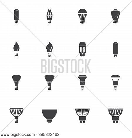 Shapes Of Light Bulbs Vector Icons Set, Electric Lighting Types Modern Solid Symbol Collection, Fill