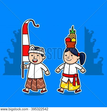 Cute Character Of Bali Kids. Suitable For Hinduism Theme.