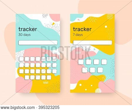 Stylish Tracker Habits For 30 And 7 Days To Track Their Achievements. To Publish In The Stories Of S