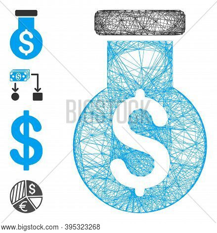Vector Wire Frame Financial Alchemy. Geometric Hatched Frame 2d Network Made From Financial Alchemy