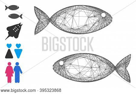 Vector Net Fish Pair. Geometric Wire Carcass Flat Net Generated With Fish Pair Icon, Designed With C