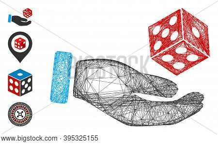 Vector Wire Frame Hand Throw Dice. Geometric Wire Frame Flat Net Generated With Hand Throw Dice Icon