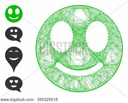 Vector Network Happy Smiley. Geometric Wire Frame Flat Network Made From Happy Smiley Icon, Designed