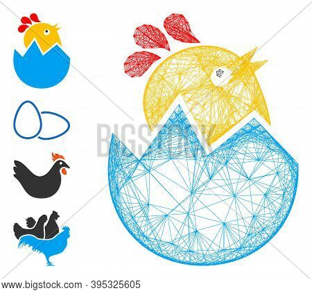 Vector Net Hatch Chick. Geometric Linear Frame Flat Net Made From Hatch Chick Icon, Designed From In