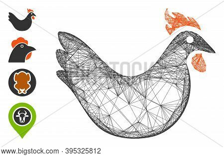 Vector Network Hen. Geometric Wire Carcass Flat Network Generated With Hen Icon, Designed With Cross