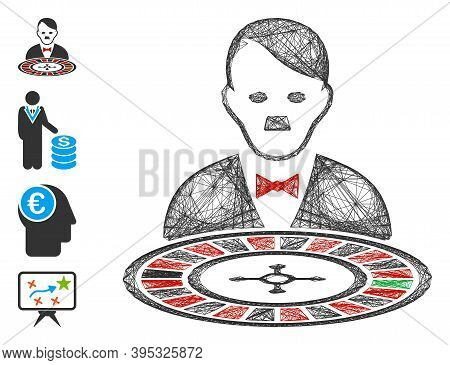 Vector Wire Frame Hitler Roulette Croupier. Geometric Linear Frame 2d Network Generated With Hitler