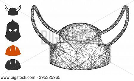 Vector Network Horned Helmet. Geometric Hatched Carcass 2d Network Made From Horned Helmet Icon, Des