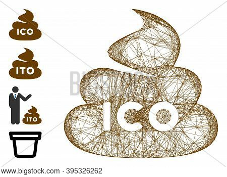 Vector Wire Frame Ico Shit. Geometric Wire Carcass Flat Network Generated With Ico Shit Icon, Design