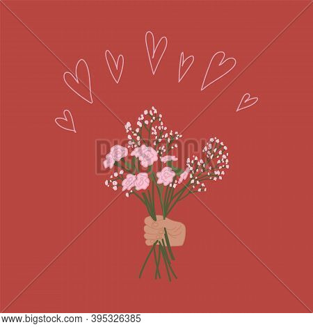 Illustration Of A Bouquet Of Flowers. A Human Hand Holds Flowers. Clipart On A Red Background With A