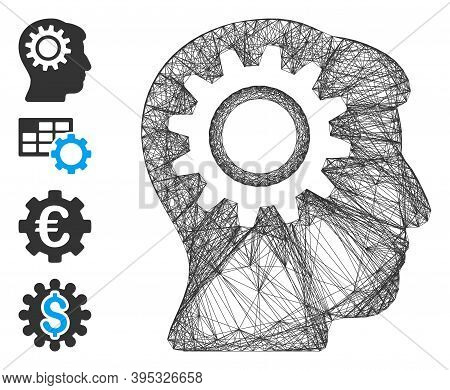 Vector Wire Frame Intellect Gear. Geometric Wire Frame Flat Network Generated With Intellect Gear Ic