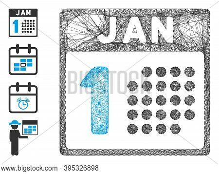 Vector Network January First. Geometric Linear Frame 2d Network Made From January First Icon, Design