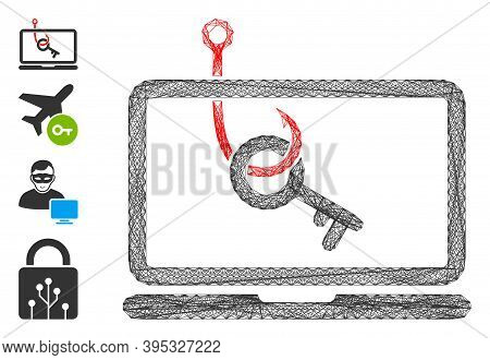 Vector Wire Frame Laptop Key Phishing. Geometric Wire Frame Flat Network Generated With Laptop Key P