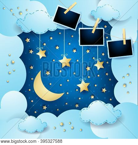 Surreal Cloudscape With Hanging Stars And Photo Frames. Vector Illustration Eps10