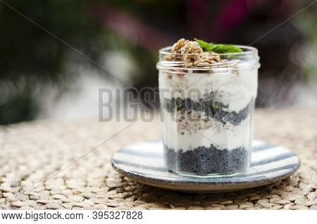 Homemade Healthy Rustic Yoghurt And Granola With Basil Seeds Breakfast Snack Cup