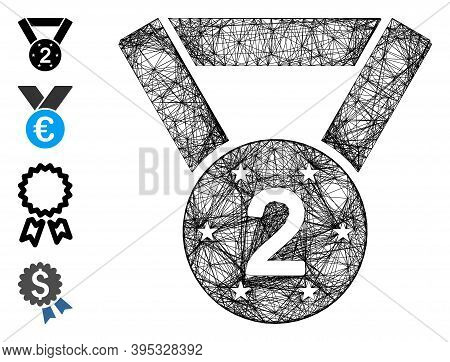 Vector Wire Frame Medal Second. Geometric Wire Frame 2d Net Made From Medal Second Icon, Designed Fr